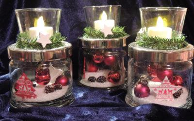 Weihnachtliche Windlichtgläser